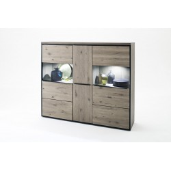 Avignon II - solid grey oak large display sideboard