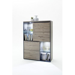 Avignon III -  solid grey oak display sideboard