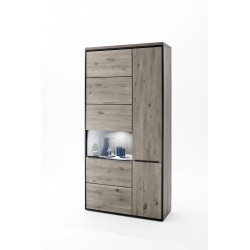 Avignon II - large solid grey oak display cabinet