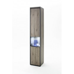 Avignon - narrow  solid grey oak display cabinet