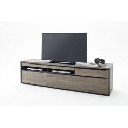Avignon II - large solid grey oak TV unit