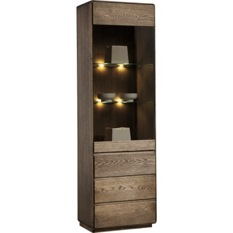 Atlanta I - assembled solid wood display cabinet in various wood option
