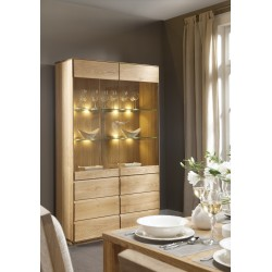Atlanta II - assembled large solid wood display cabinet in various wood option