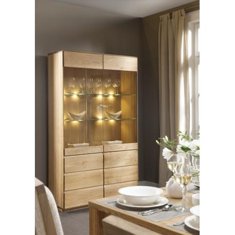 Atlanta II - assembled large solid wood display cabinet in various wood option
