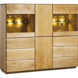 Atlanta II -assembled large solid wood display sideboard in various wood option