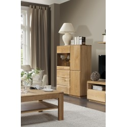 Atlanta III - assembled solid wood display sideboard in various wood option