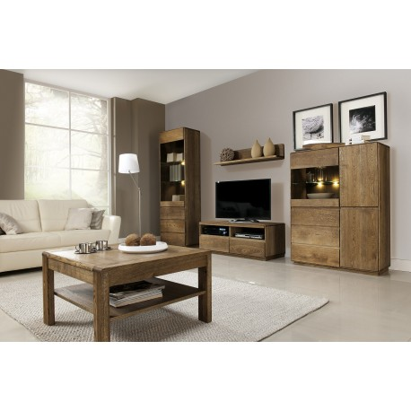 Atlanta I - assembled solid wood wall composition in various wood option