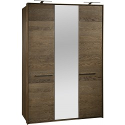 Rio I - solid wood 3 door wardrobe with mirror in various wood option