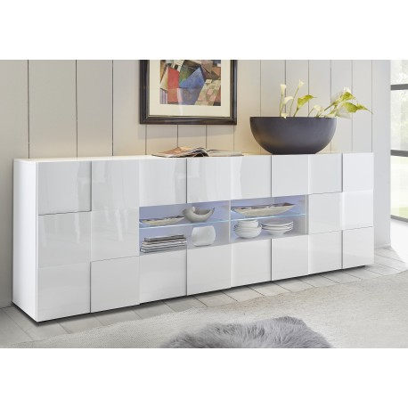 Diana 241cm white gloss sideboard with LED lights