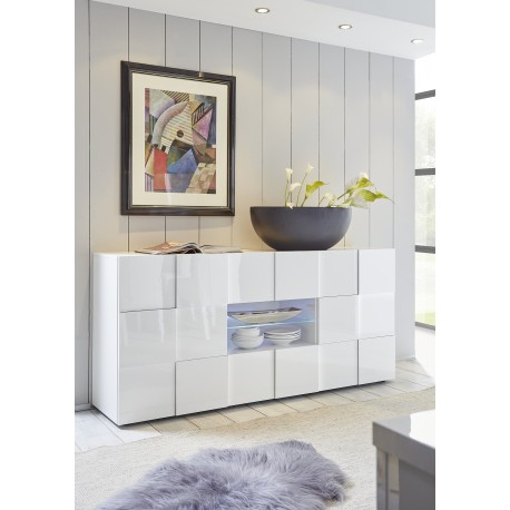 Diana 181cm white gloss sideboard with LED lights