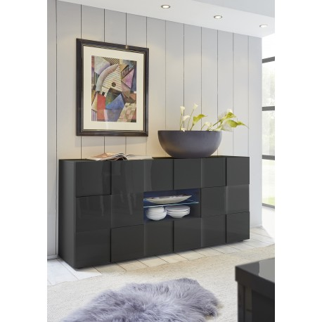 Diana 181cm grey gloss sideboard with LED lights