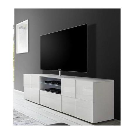 Diana 181cm white gloss TV Unit with LED lights