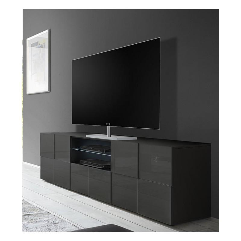 diana 181cm grey gloss tv unit with led lights tv stands. Black Bedroom Furniture Sets. Home Design Ideas