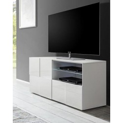 Diana 121cm white gloss TV Unit with LED lights