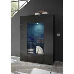 Diana two door grey gloss display cabinet with LED lights