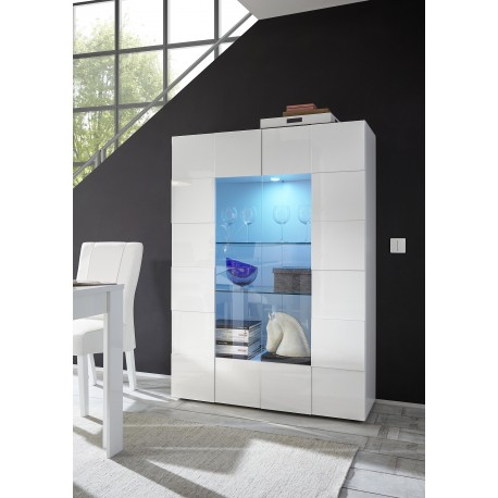 Diana two door white gloss display cabinet with LED lights