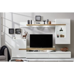 Olymp - modern wall unit with white gloss fronts with LED lights