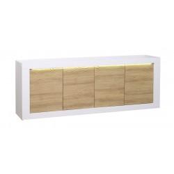 Karma II -large white gloss and oak sideboard with LED lights