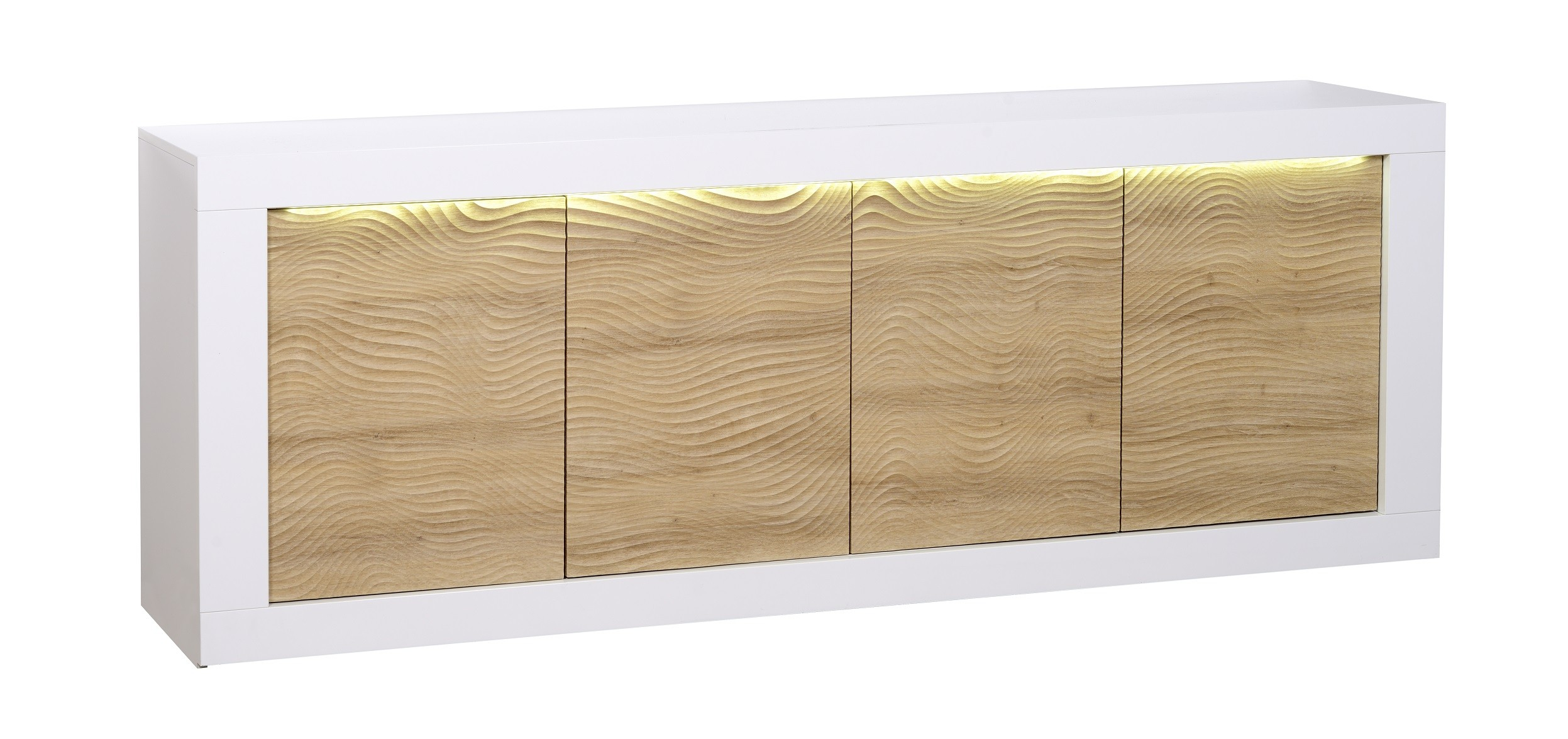 Karma Ii Large White Gloss And Oak Sideboard With Led Lights  # Meuble Tv Karma