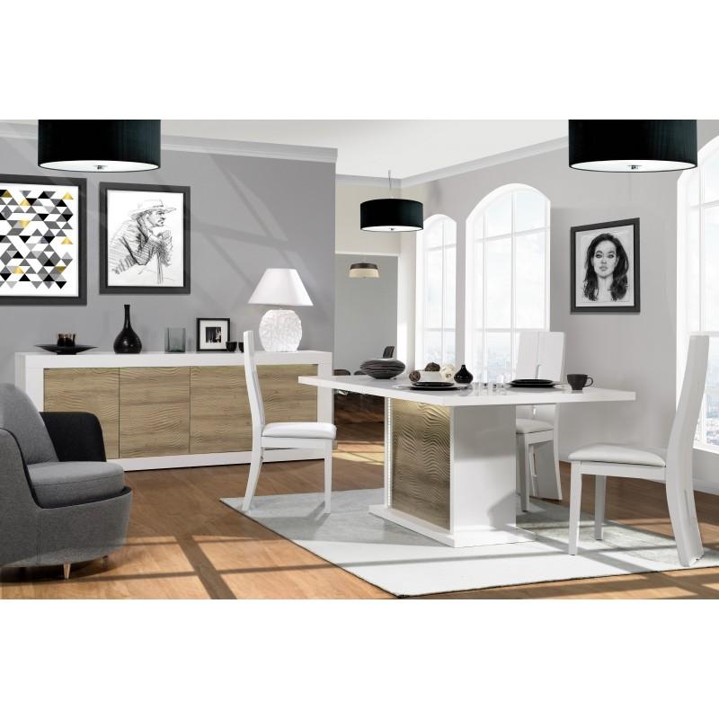 White Gloss Led Furniture: Karma II Large White Gloss And Oak Sideboard With Led