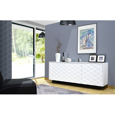Verona - white gloss sideboard with decorative doors