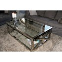 Joanne Coffee Table in Polished Stainless Steel with glass top