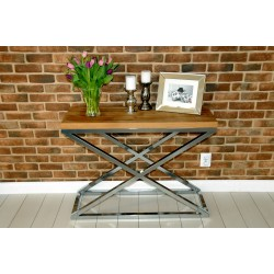 Joanne II Console Table in Polished Stainless Steel with oak top