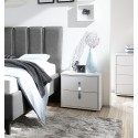 Mare chrome - white lacquered bedside cabinet