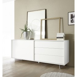 Armadio II lacquered sideboard with glass legs and LED