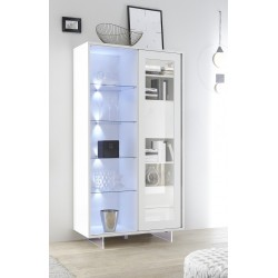 Armadio II matt lacquered vitrine with glass legs and LED