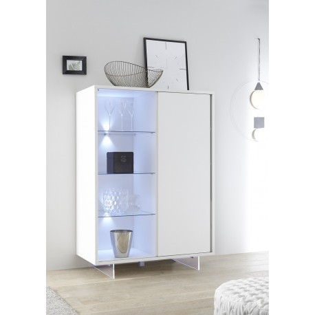 Armadio II lacquered highboard with glass legs and LED