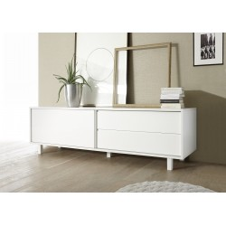 Armadio white matt lacquered TV lowboard with drawer