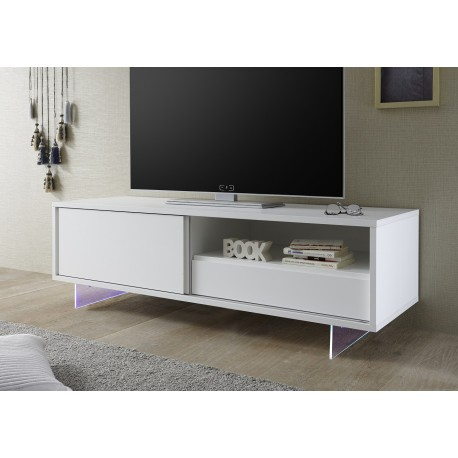 Armadio 156cm Lacquered Tv Unit With Glass Legs And Led Furniture