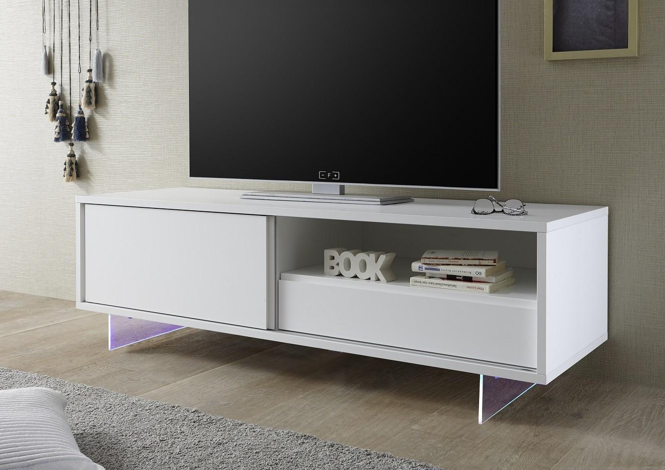 Armadio Ii Lacquered Tv Unit With Glass Legs And Led Furniture  # Meuble Tv Ovio