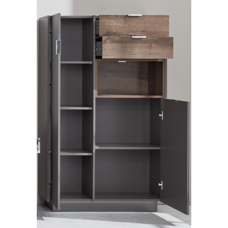 Washington grey display highboard with lights display for Display home furniture