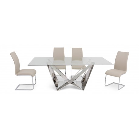 Fabio - polished steel dining table with glass top