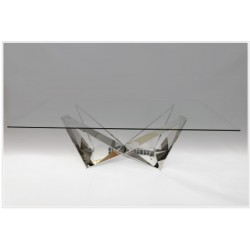 Fabio Coffee Table in Polished Stainless Steel with glass top