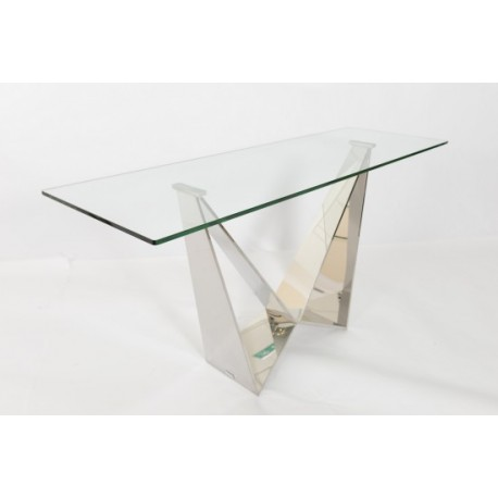 Fabio Console Table in Polished Stainless Steel with glass top