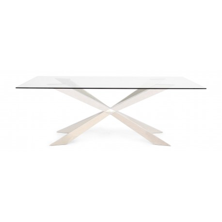 Cleo polished steel dining table with glass top