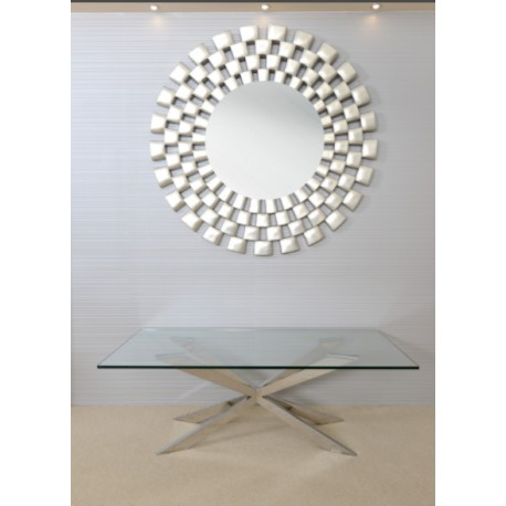 Cleo Coffee Table in Polished Stainless Steel with glass top