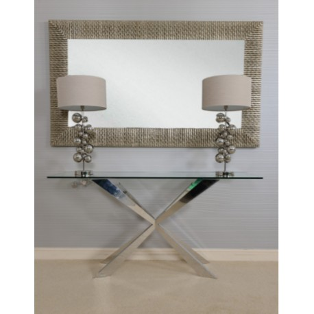 Cleo Console Table in Polished Stainless Steel with glass top