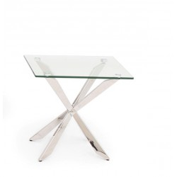 Cleo Side Table in Polished Stainless Steel with glass top