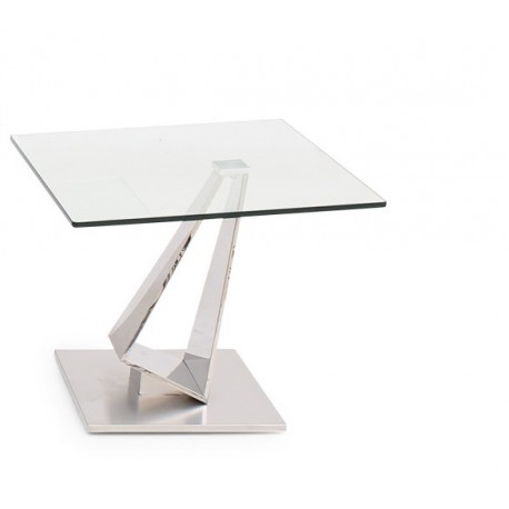 Fabio Side Table in Polished Stainless Steel with glass top
