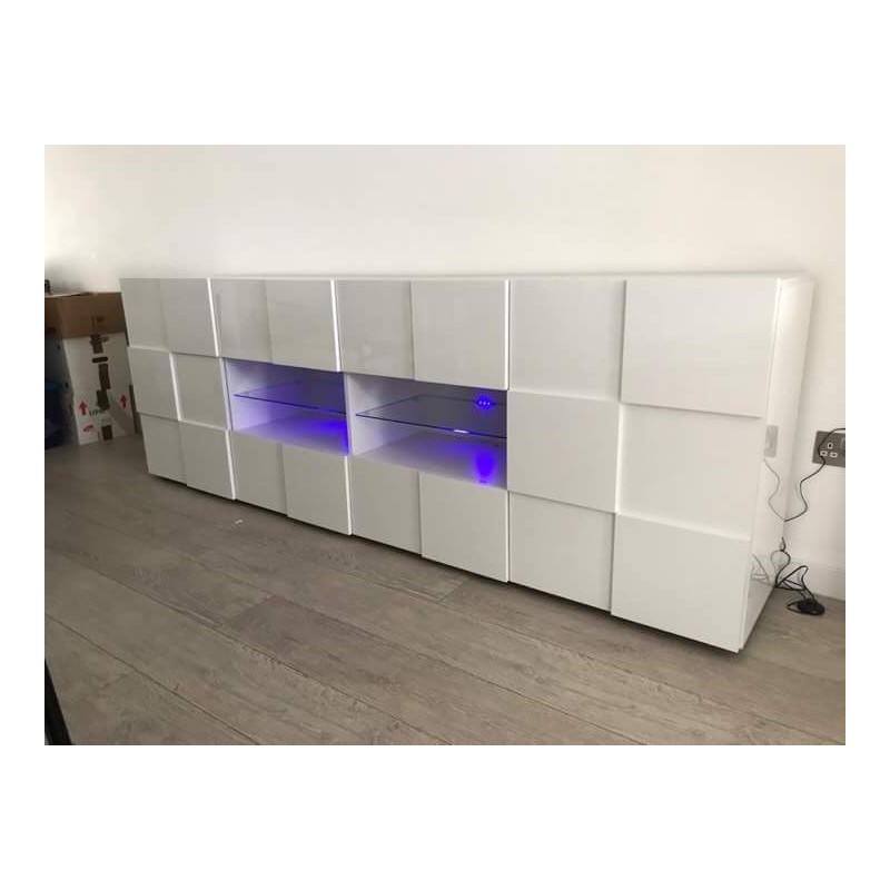 White Gloss Led Furniture: Diana 241cm White Gloss Sideboard With LED Lights