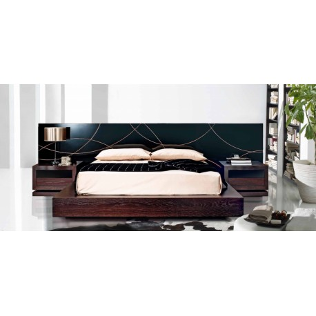 Jade III lacquered bespoke luxury bed with bedside cabinets