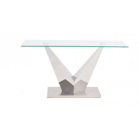 Lora Console Table in Polished Stainless Steel with glass top