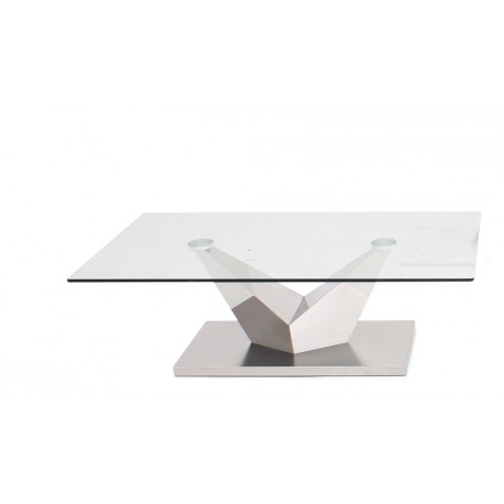 Lora Coffee Table in Polished Stainless Steel with glass top
