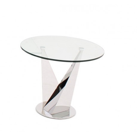Lora Side Table in Polished Stainless Steel with glass top
