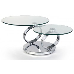 Enyo Coffee Table in Polished Stainless Steel with glass top