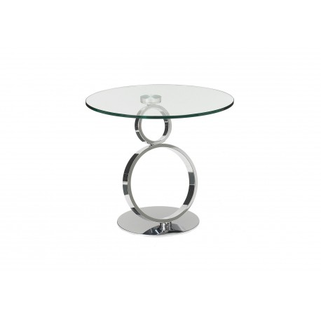 Enyo Side Table in Polished Stainless Steel with glass top